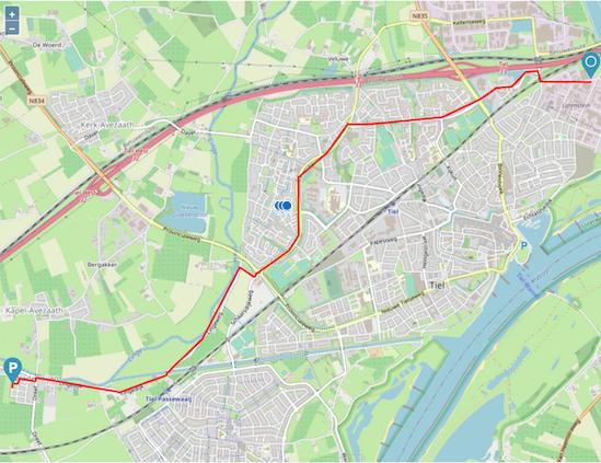 Zo wordt de laatst gereden route getoond in het online platform van Trackpointer